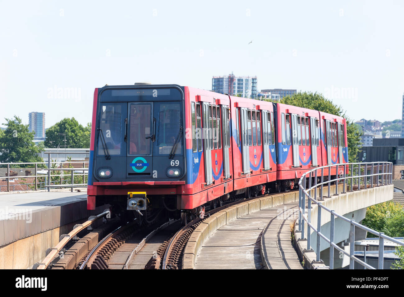 London City Airport DLR train, Silvertown, London Borough of Newham, Greater London, England, United Kingdom - Stock Image