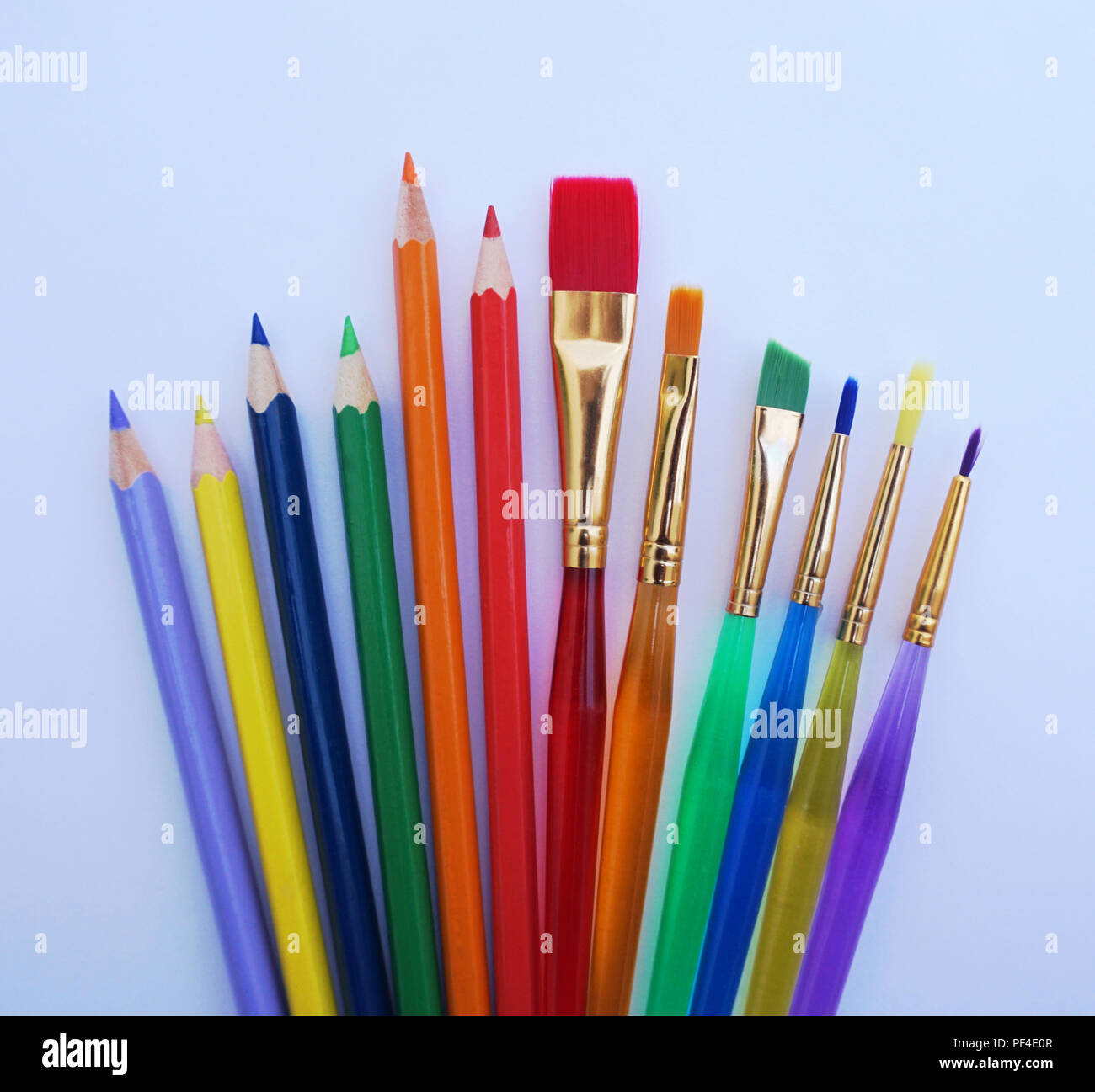 School stuff for art education, wooden color pencil and paint ...