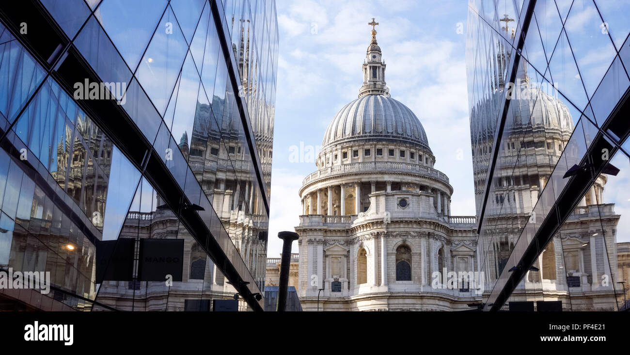 St. Paul's Cathedral and One New Change building in London England United Kingdom UK - Stock Image