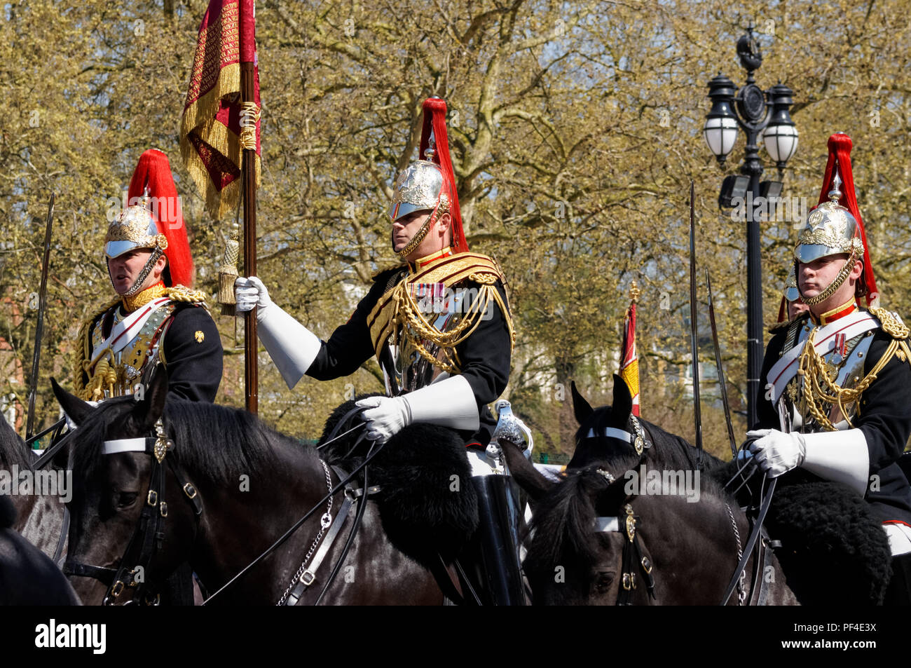 Mounted regiment of the Household Cavalry on the Mall, London England United Kingdom UK Stock Photo