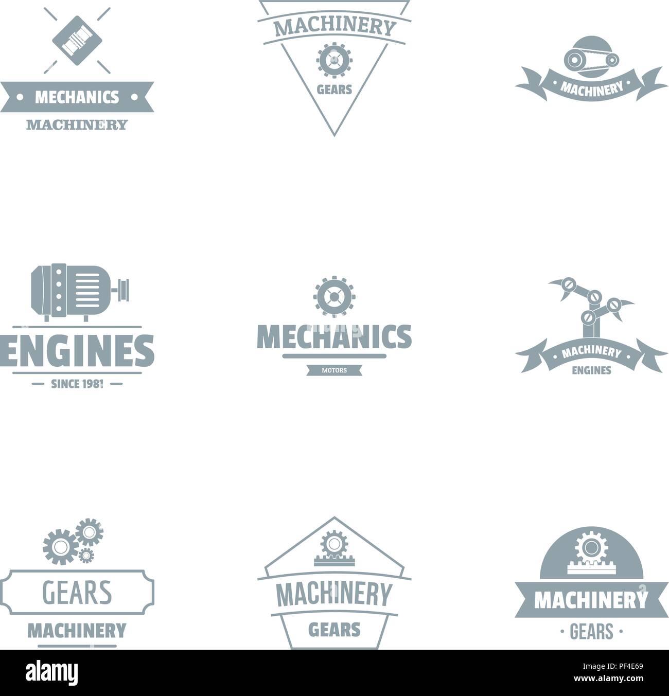 Gearing logo set, simple style - Stock Image