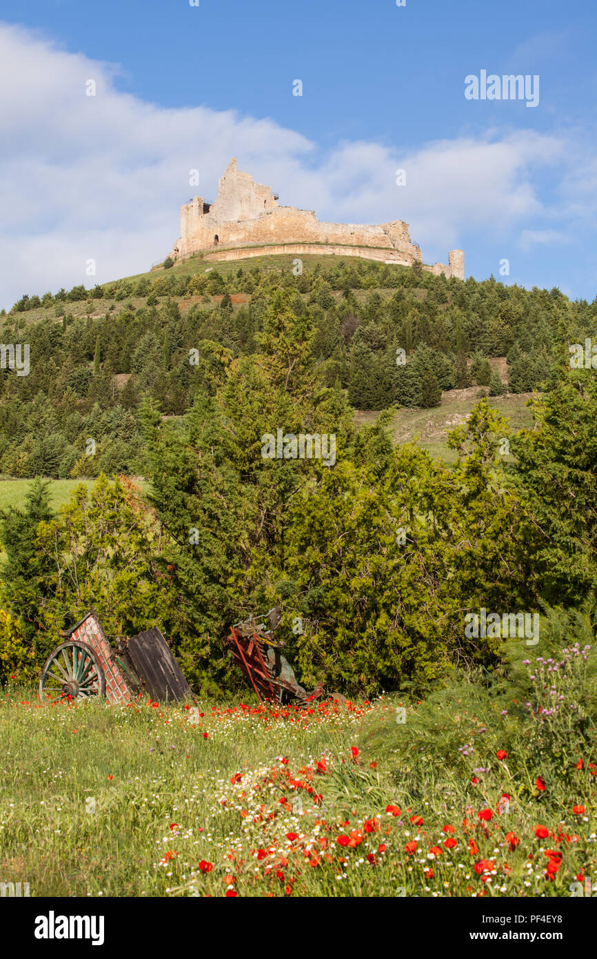 The Templar castle ruins in the Spanish town of Castrojeriz seen from the footpath the Camino de Santiago the way of St James Castille y Leon Spain Stock Photo