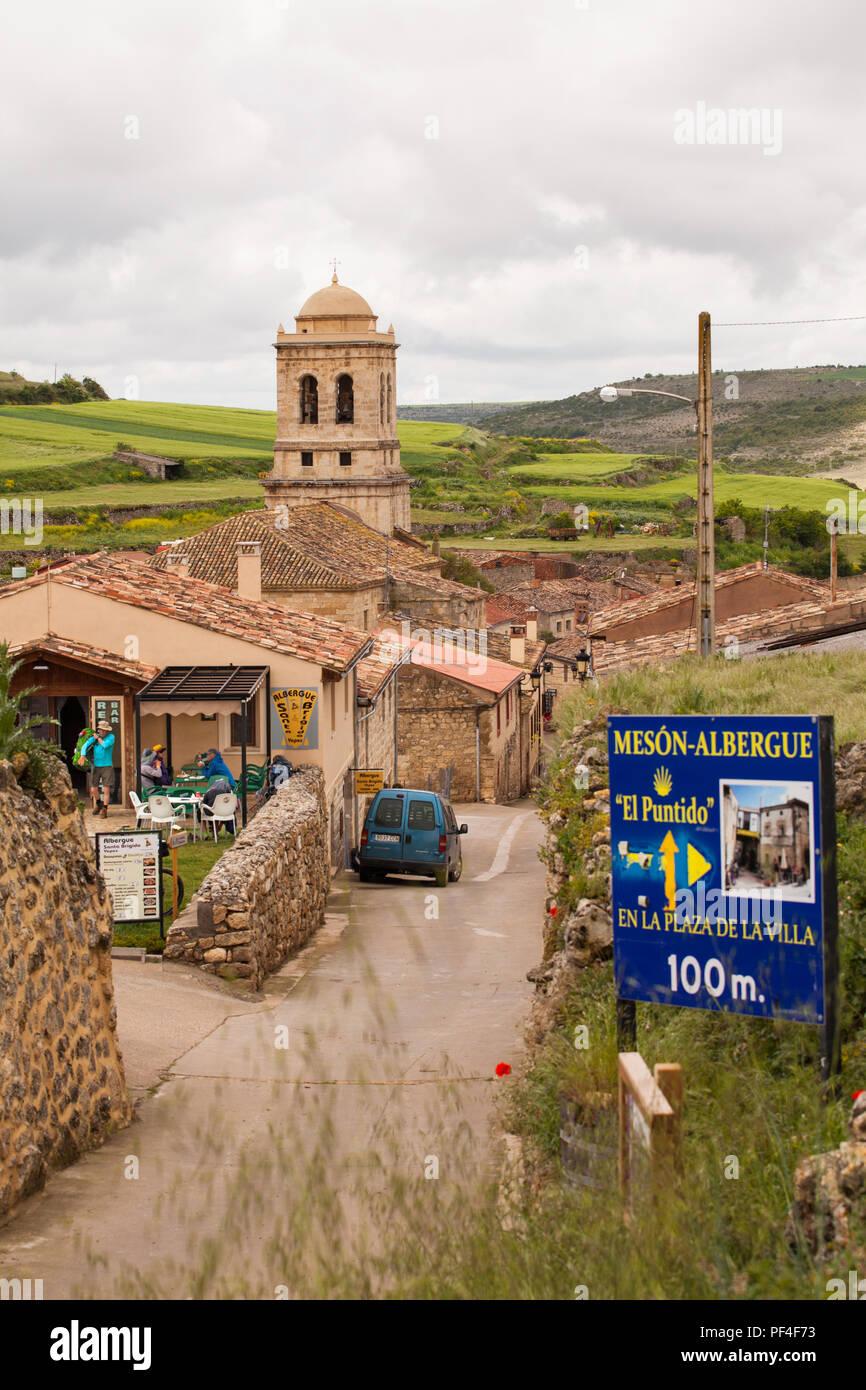 The village of Hontanas on the Camino de Santiago the way of St James Burgos Castille y Leon Spain - Stock Image