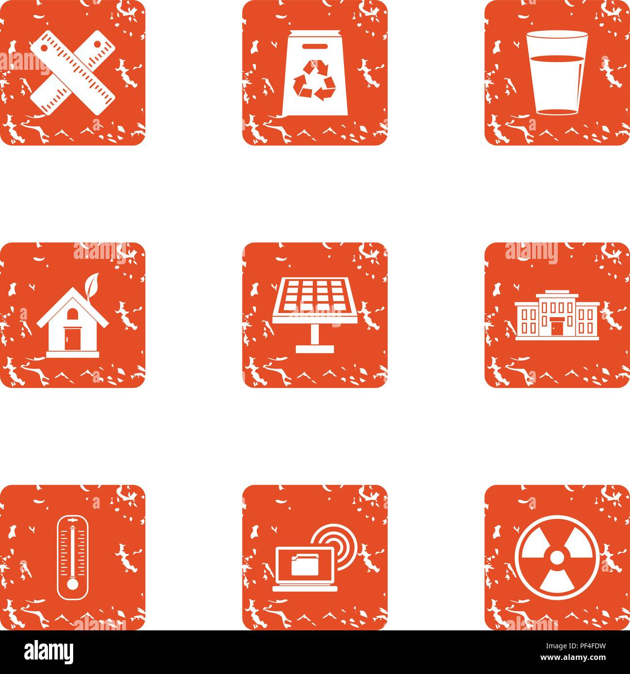 Pollution icons set, grunge style - Stock Vector
