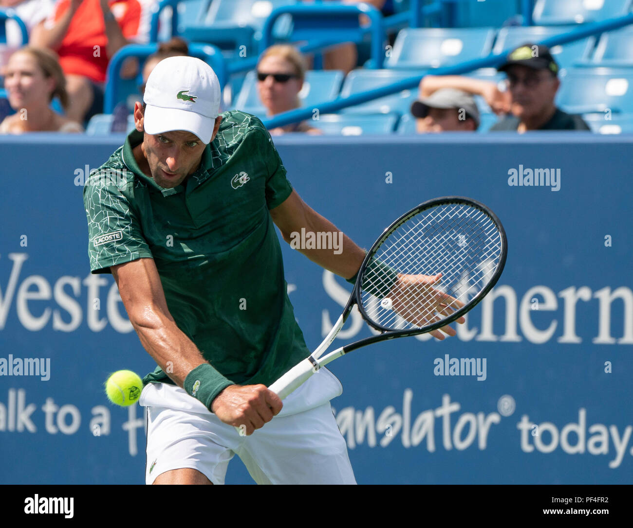 Ohio, USA. 18 August 2018.  Novak Djokovic (SRB) defeated Marin Cilic (CRO) 6-4, 3-6, 6-3, at the Western & Southern Open being played at Lindner Family Tennis Center in Mason, Ohio. © Leslie Billman/Tennisclix/CSM Credit: Cal Sport Media/Alamy Live News - Stock Image