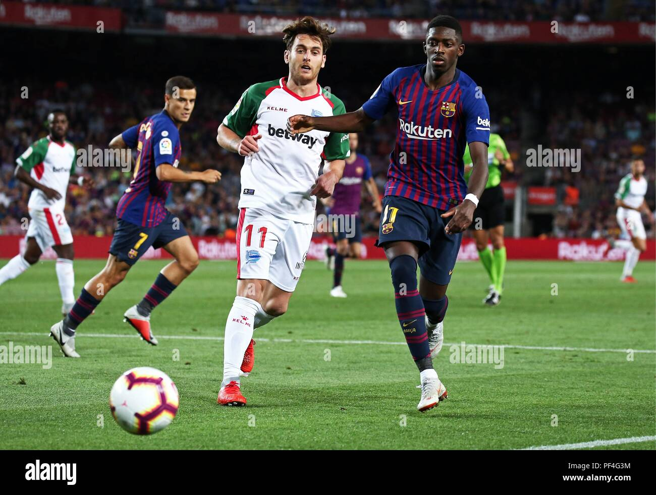 Barcelona, Spain. 18 August 2018. Ousmane Dembele and  Ibai during the match between FC Barcelona and Deportivo Alaves, correspondiong to the week 1 of the spanish league, on 18th August 2018. Photo: Joan Valls/Urbanandsport/Cordon Press   Cordon Press Credit: CORDON PRESS/Alamy Live News - Stock Image