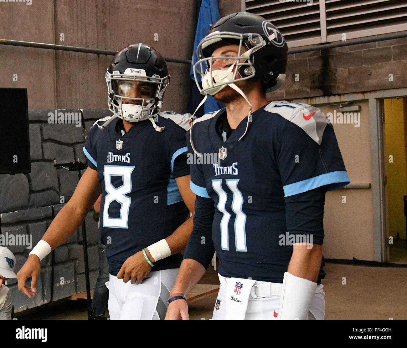 on sale a968f 39be0 Nashville, USA. 18 August 2018. Tennessee Titans quarterback ...