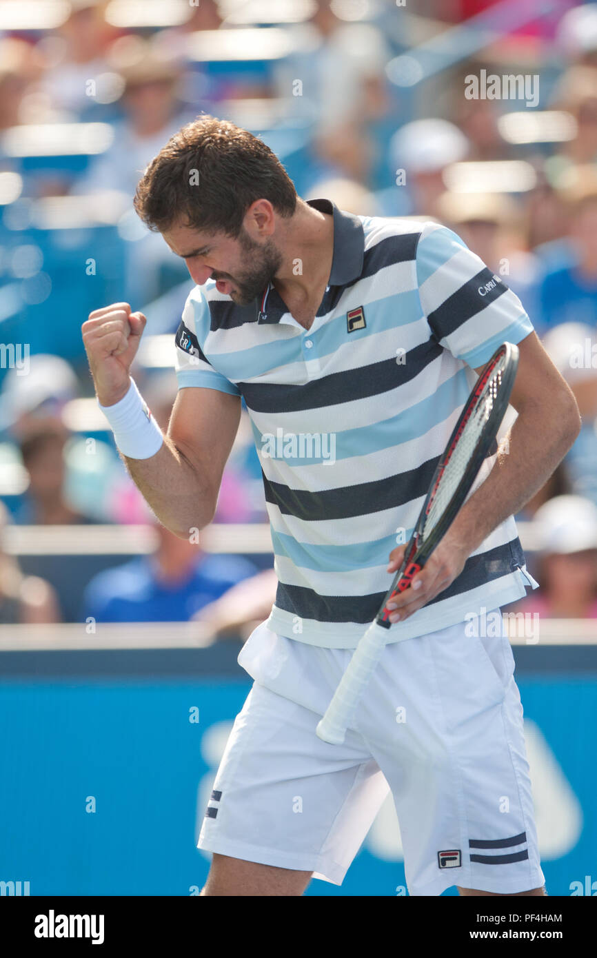 Cincinnati, OH, USA. 18th Aug, 2018. Western and Southern Open Tennis, Cincinnati, OH - August 18, 2018 - Marin Cilic in action against Novak Djokovic in the semi finals of the Western and Southern Tennis tournament held in Cincinnati. - Photo by Wally Nell/ZUMA Press Credit: Wally Nell/ZUMA Wire/Alamy Live News Stock Photo