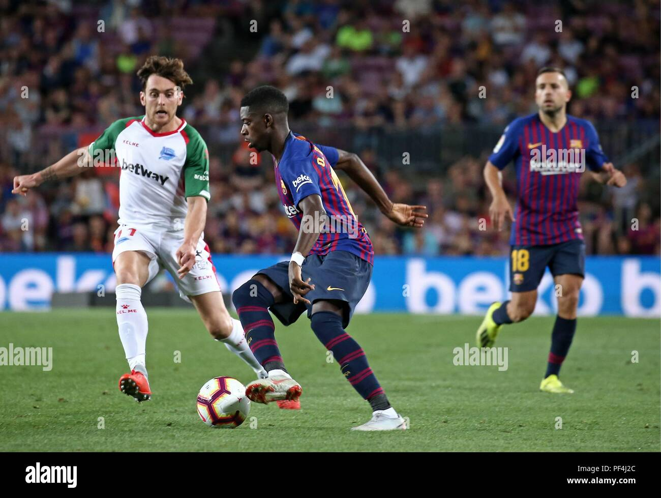Barcelona, Spain. 18 August 2018. Ousmane Dembele during the match between FC Barcelona and Deportivo Alaves, correspondiong to the week 1 of the spanish league, on 18th August 2018. Photo: Joan Valls/Urbanandsport/Cordon Press   Cordon Press Credit: CORDON PRESS/Alamy Live News - Stock Image