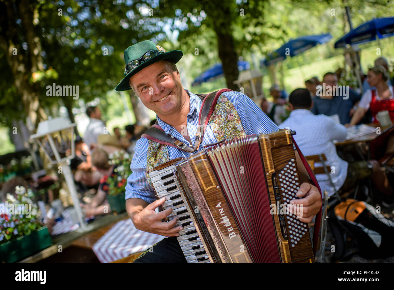 Pullach, Germany  17th Aug, 2018  Raft musician Klaus Bacher plays