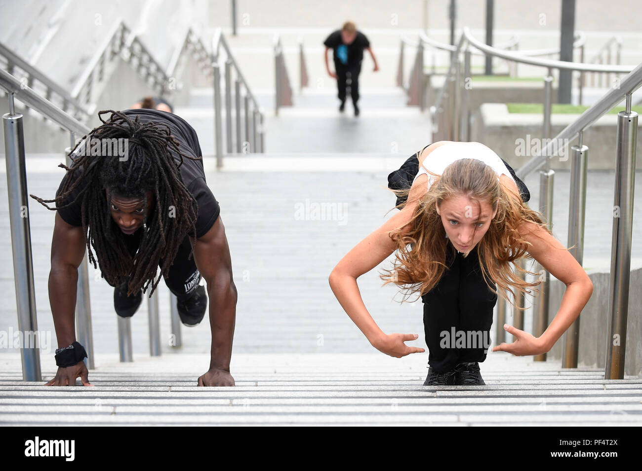 London, UK  19 August 2018  Parkour practitioners take part