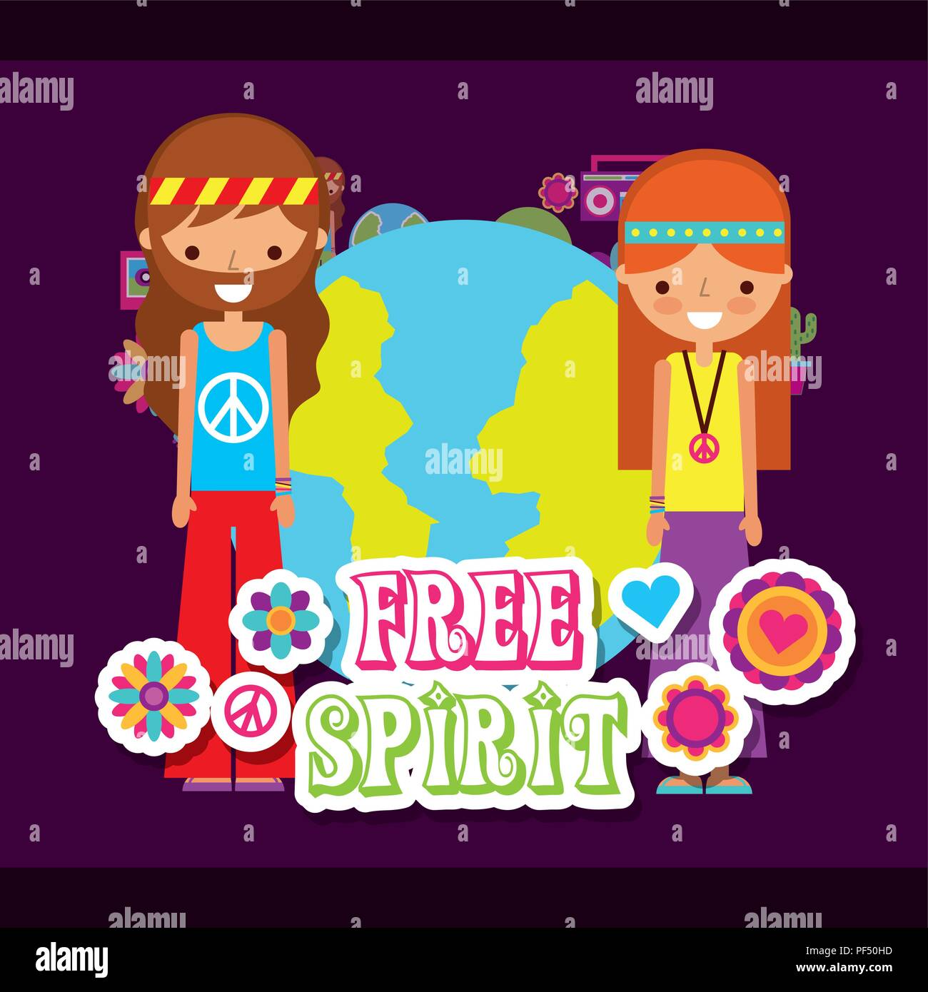 hippie woman and man world free spirit Stock Vector