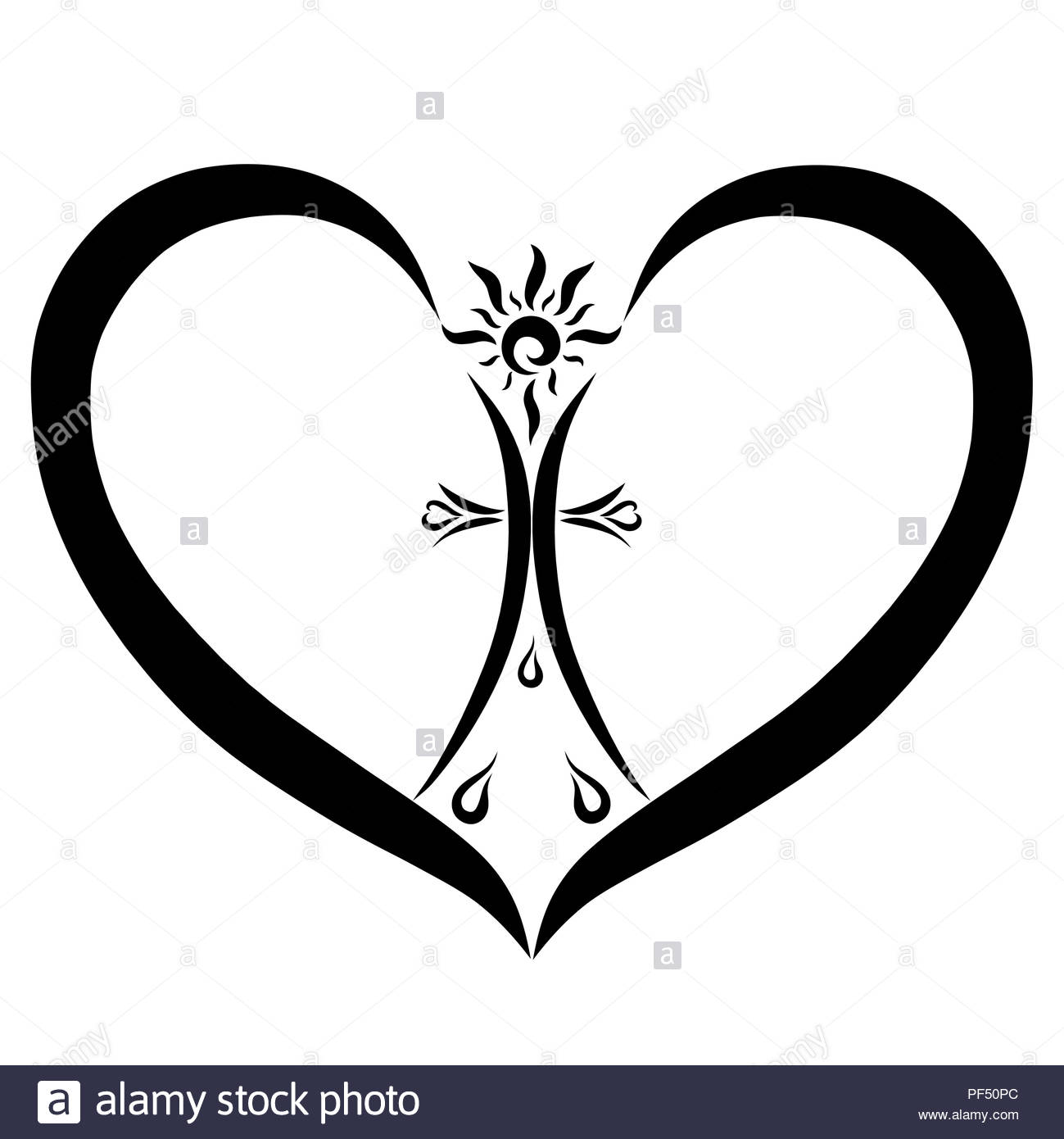 christian symbols heart with a cross sun and drops stock photo