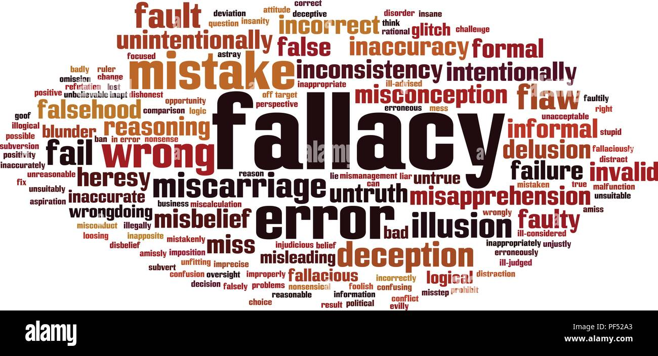 Fallacy word cloud concept. Vector illustration - Stock Image