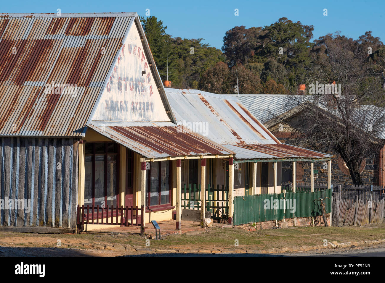Opened in 1872 The Great Western Store in Hill End, NSW acted as post office & provisions shop for gold diggers and residents. It is still open - Stock Image