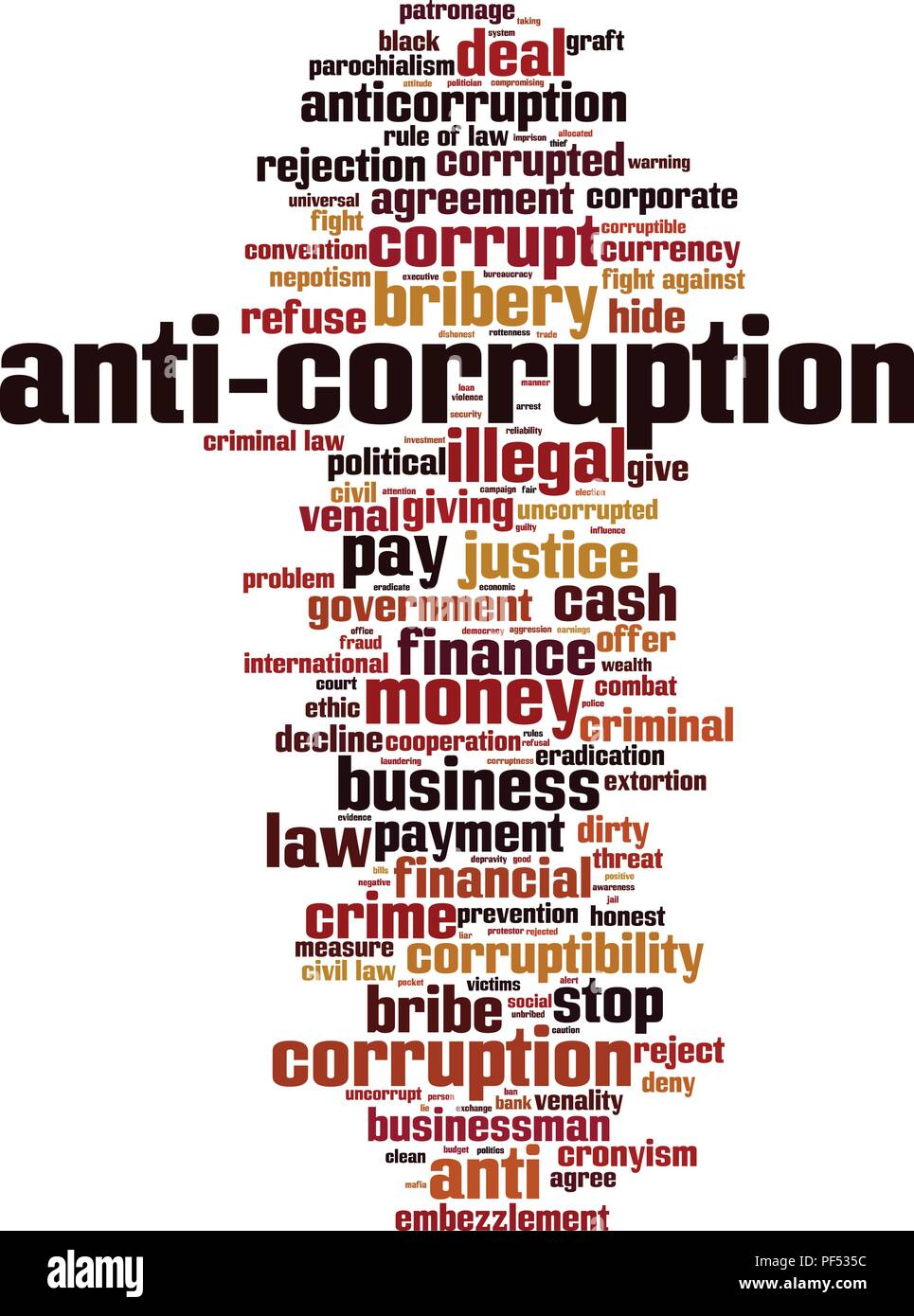 Anti-corruption word cloud concept. Vector illustration Stock Vector