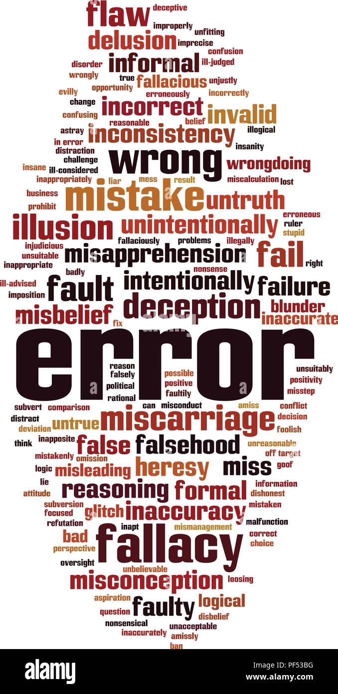 Error word cloud concept. Vector illustration - Stock Image