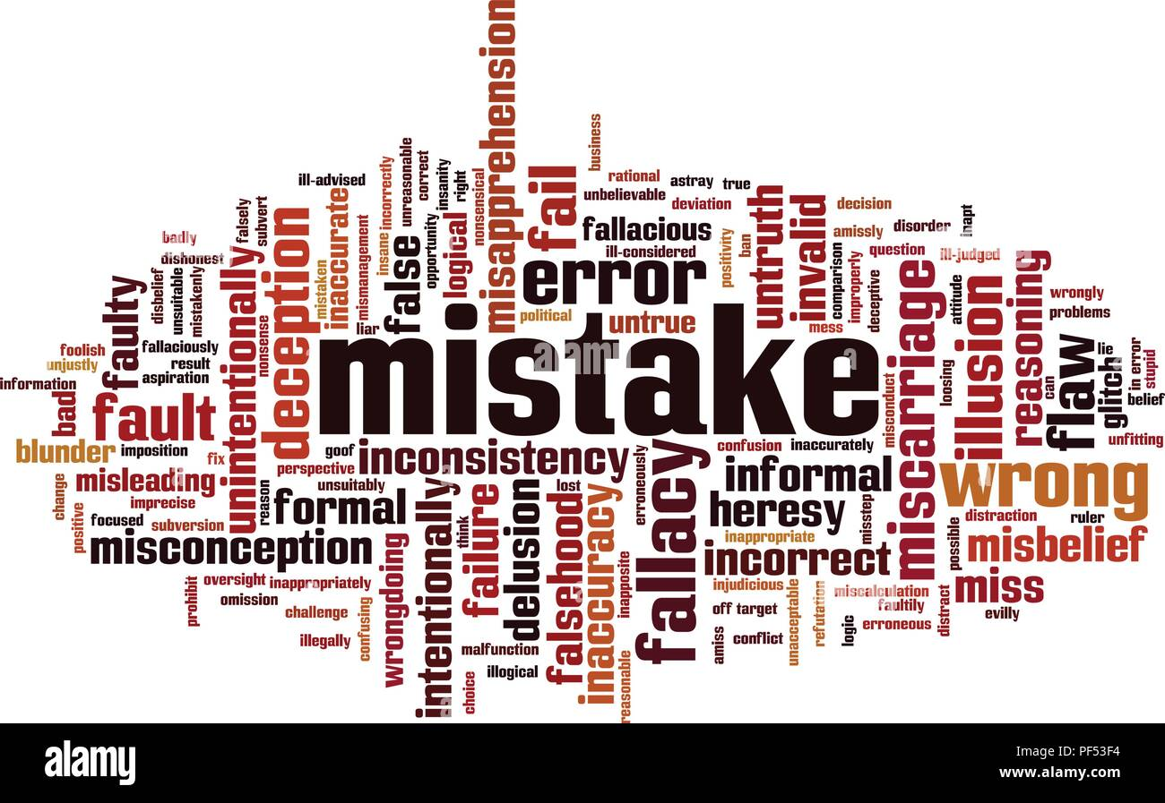Mistake word cloud concept. Vector illustration - Stock Image