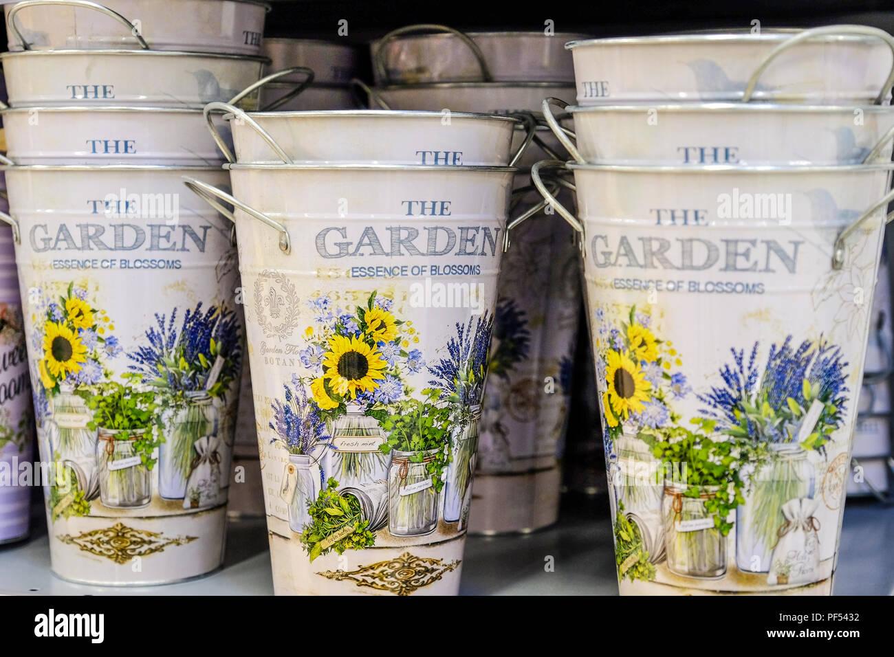Roses In Garden: Buckets Of Flowers Stock Photos & Buckets Of Flowers Stock