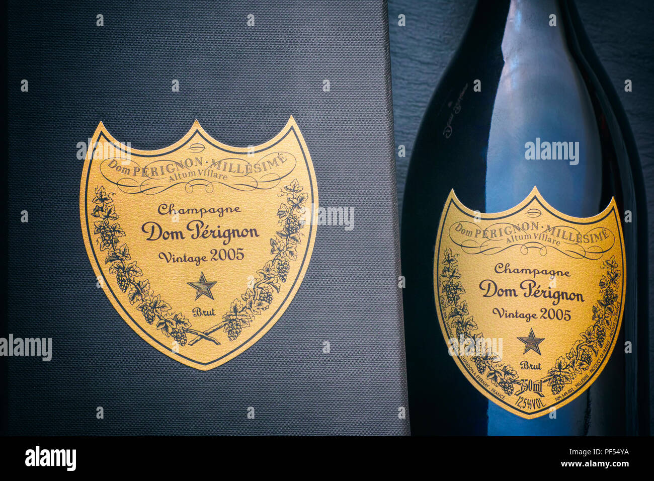 Tambov, Russian Federation - August 16, 2018 Close-up of Bottle of Champagne Dom Perignon Vintage 2005 near black box with label. Studio shot. - Stock Image