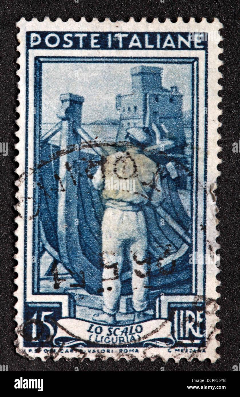 15 Lire used blue Poste Italiane Italian Italy Stamp - Lo Scalo - Liguria - Stock Image