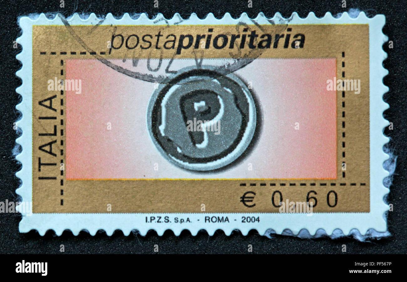 Used E0.06 Italia Italian stamp Postaprioritaria Euro, Roma 2004 - Stock Image