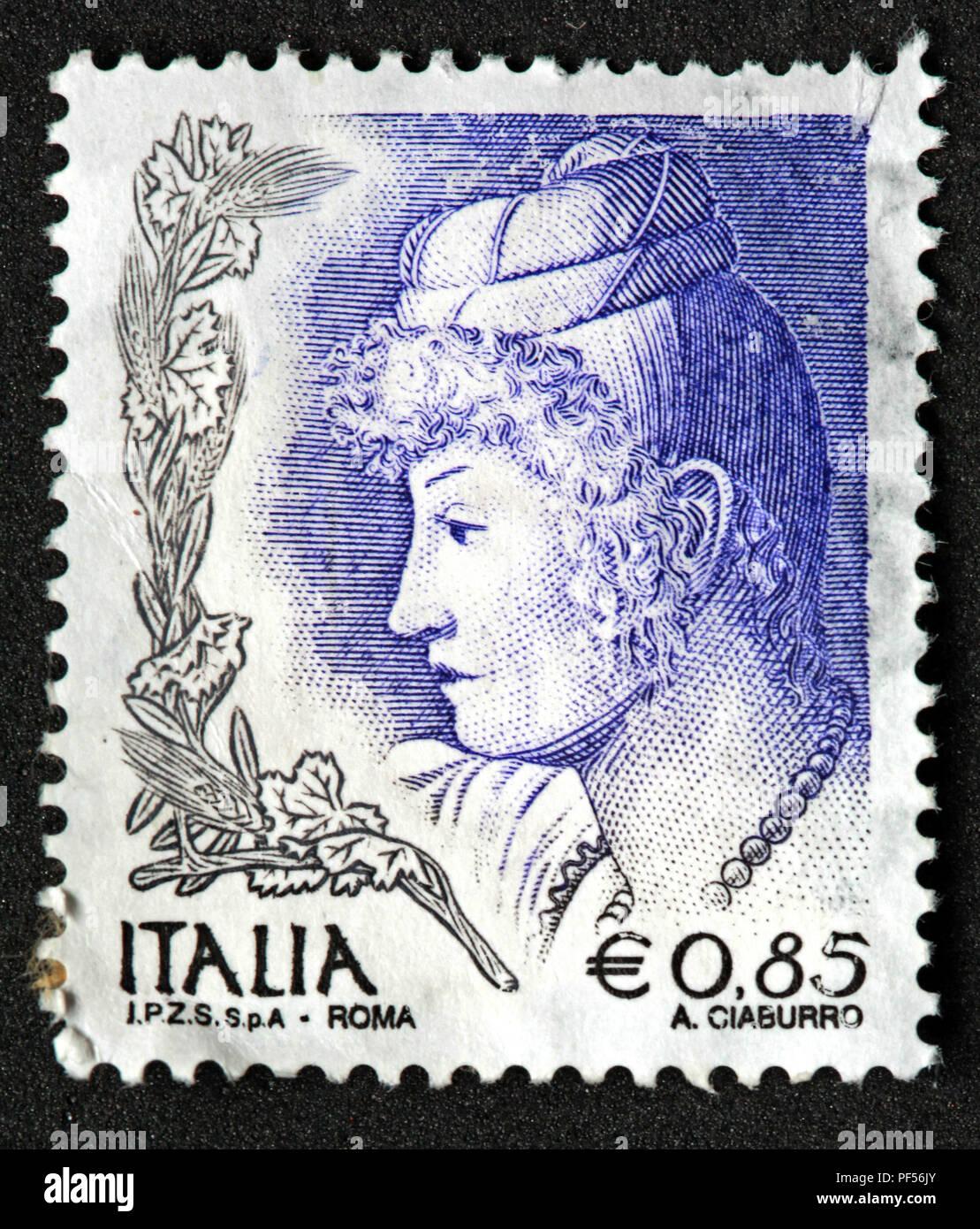 Used blue Italia IPZS Spa stamp - Roma - 0.85 euro - A Ciaburro - Stock Image