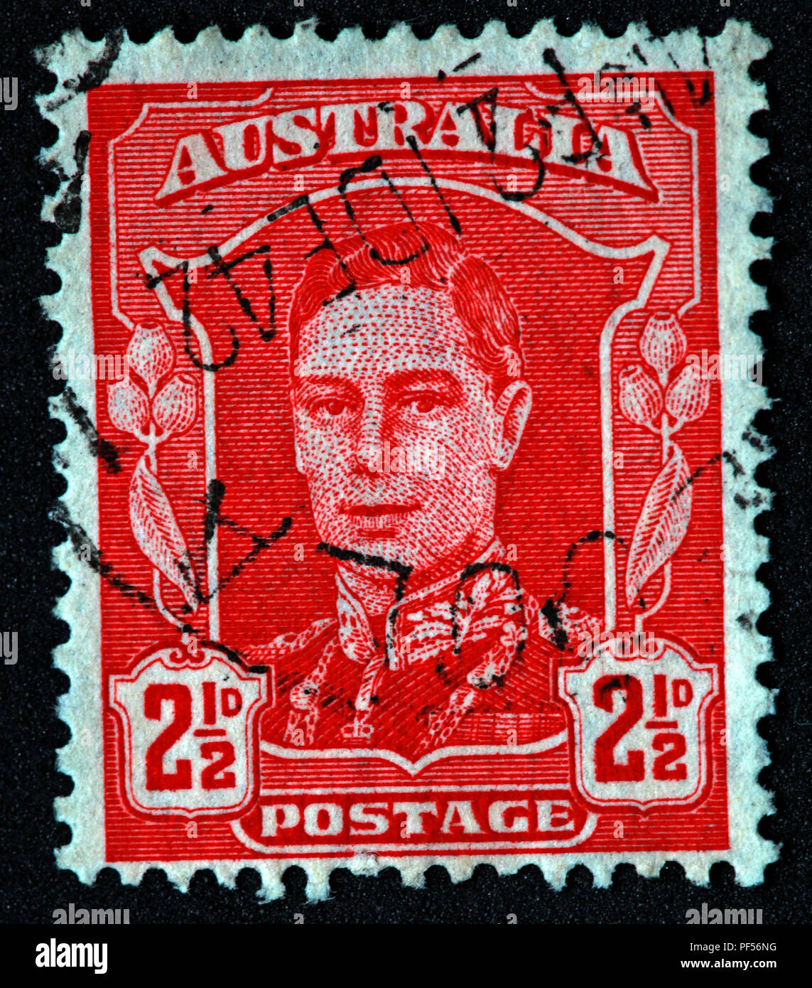 Used Red - Australia 1942-44 Early Issue Fine Used 2.5d - Stock Image