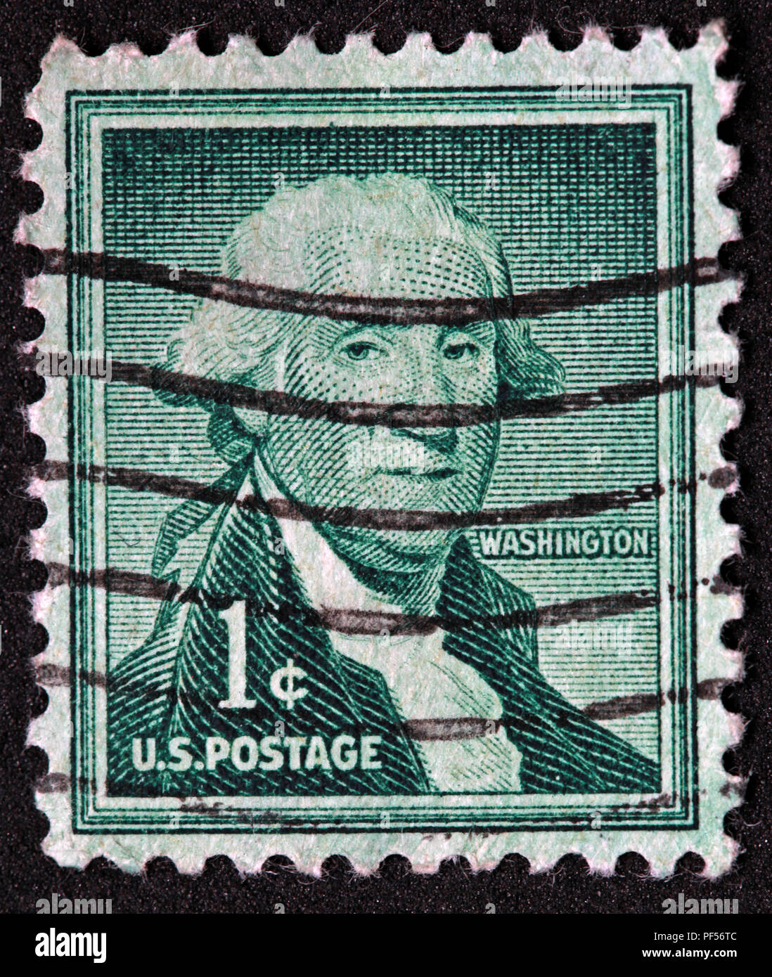 Used Green US postage 1c Washington stamp - Stock Image