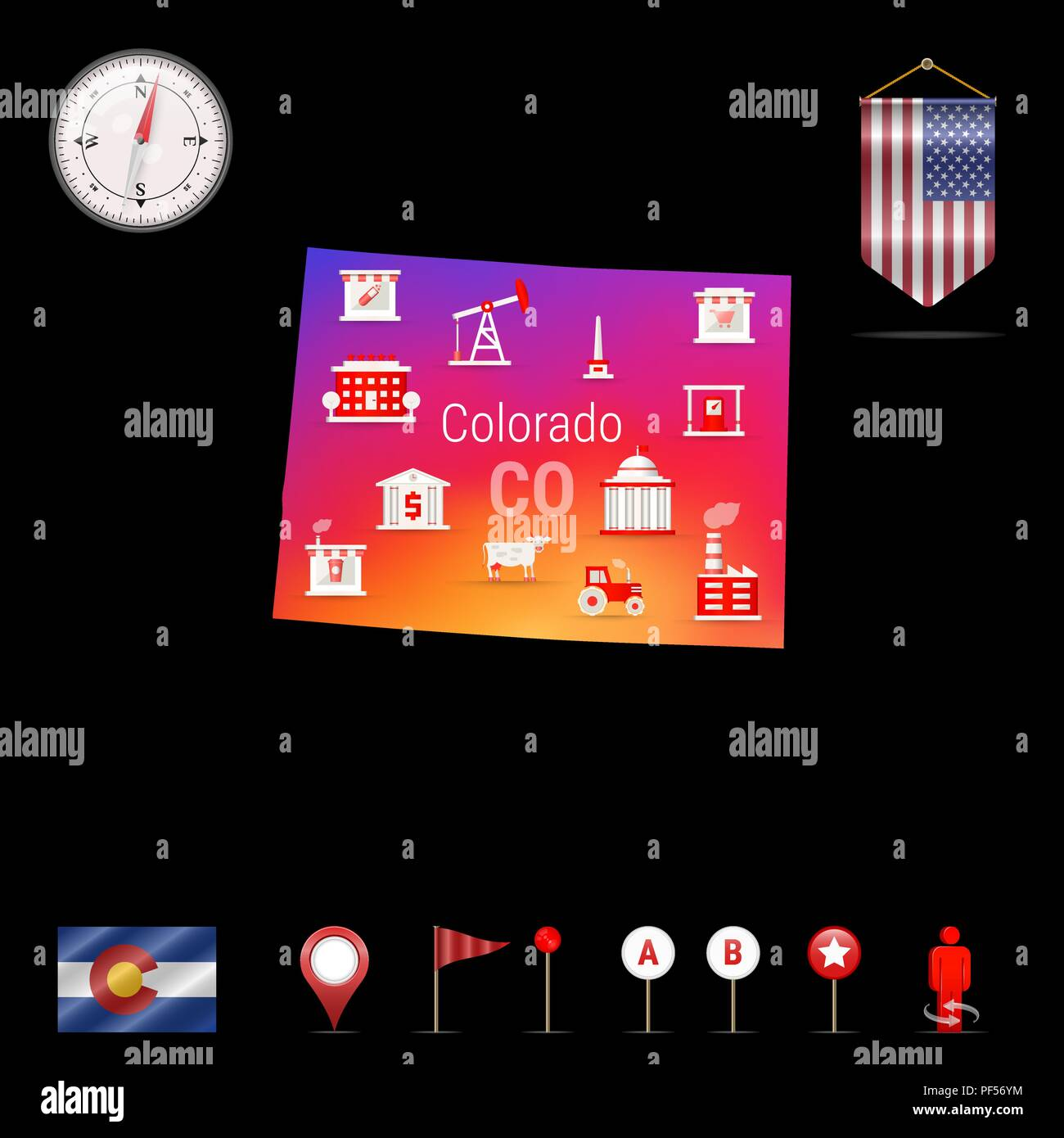 Colorado Vector Map, Night View. Compass Icon, Map Navigation Elements. Pennant Flag of the United States. Vector Flag of Colorado. Various Industries, Economic Geography Icons. - Stock Vector