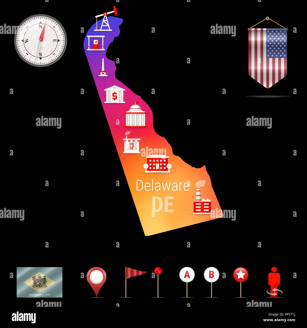 Delaware Vector Map, Night View. Compass Icon, Map Navigation Elements. Pennant Flag of the United States. Vector Flag of Delaware. Various Industries, Economic Geography Icons. - Stock Vector