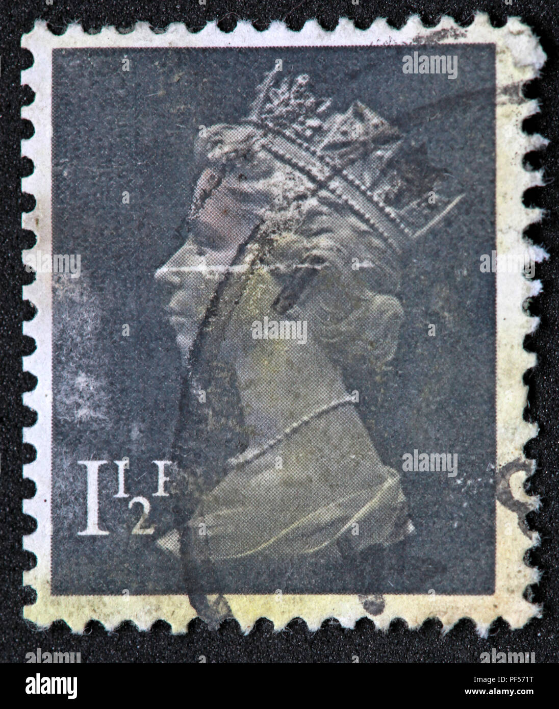 Used franked British UK stamp - 1.5p - Queen Elizabeth II - Stock Image
