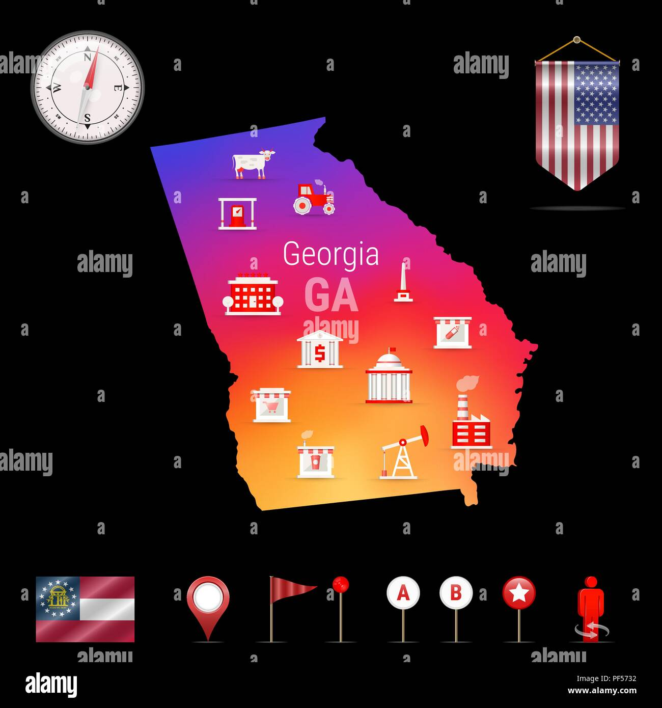 Georgia Vector Map, Night View. Compass Icon, Map Navigation ...