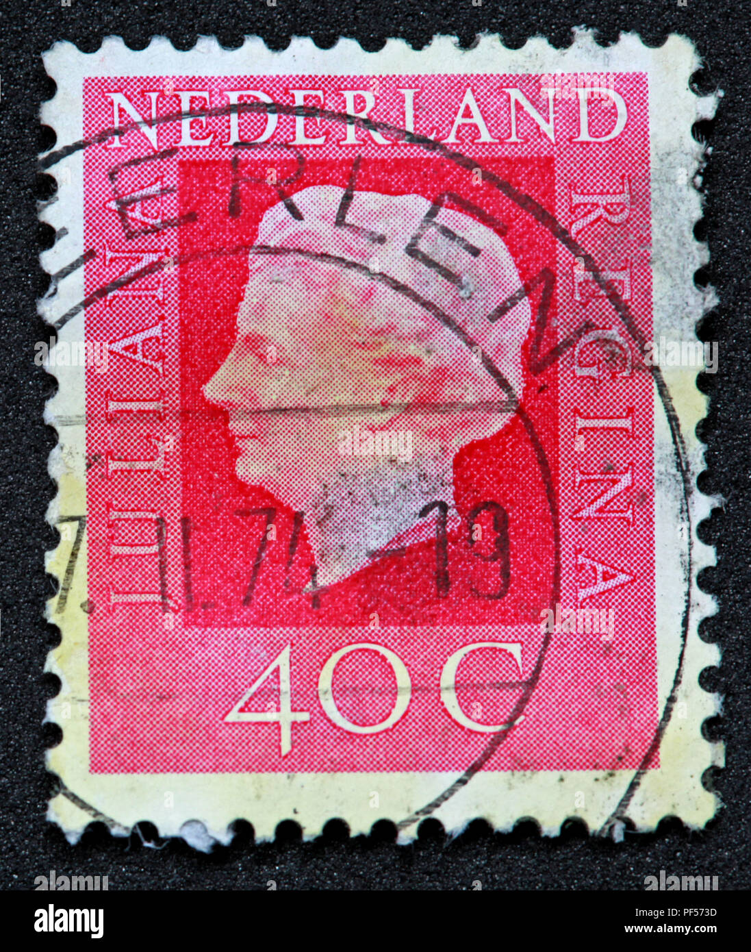 Used franked Nederland Netherlands Stamp, Juliana Regina 40c Forty Cent - Stock Image