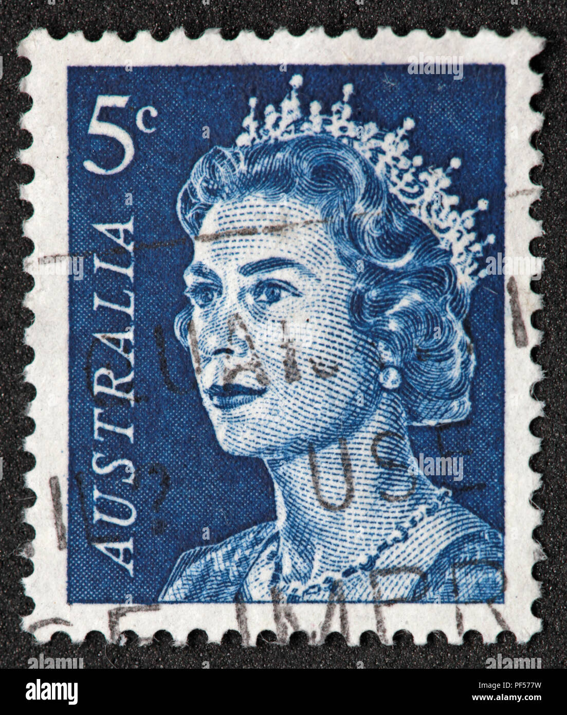 Used Australia 5c blue Stamp with Queen Elizabeth II - Stock Image