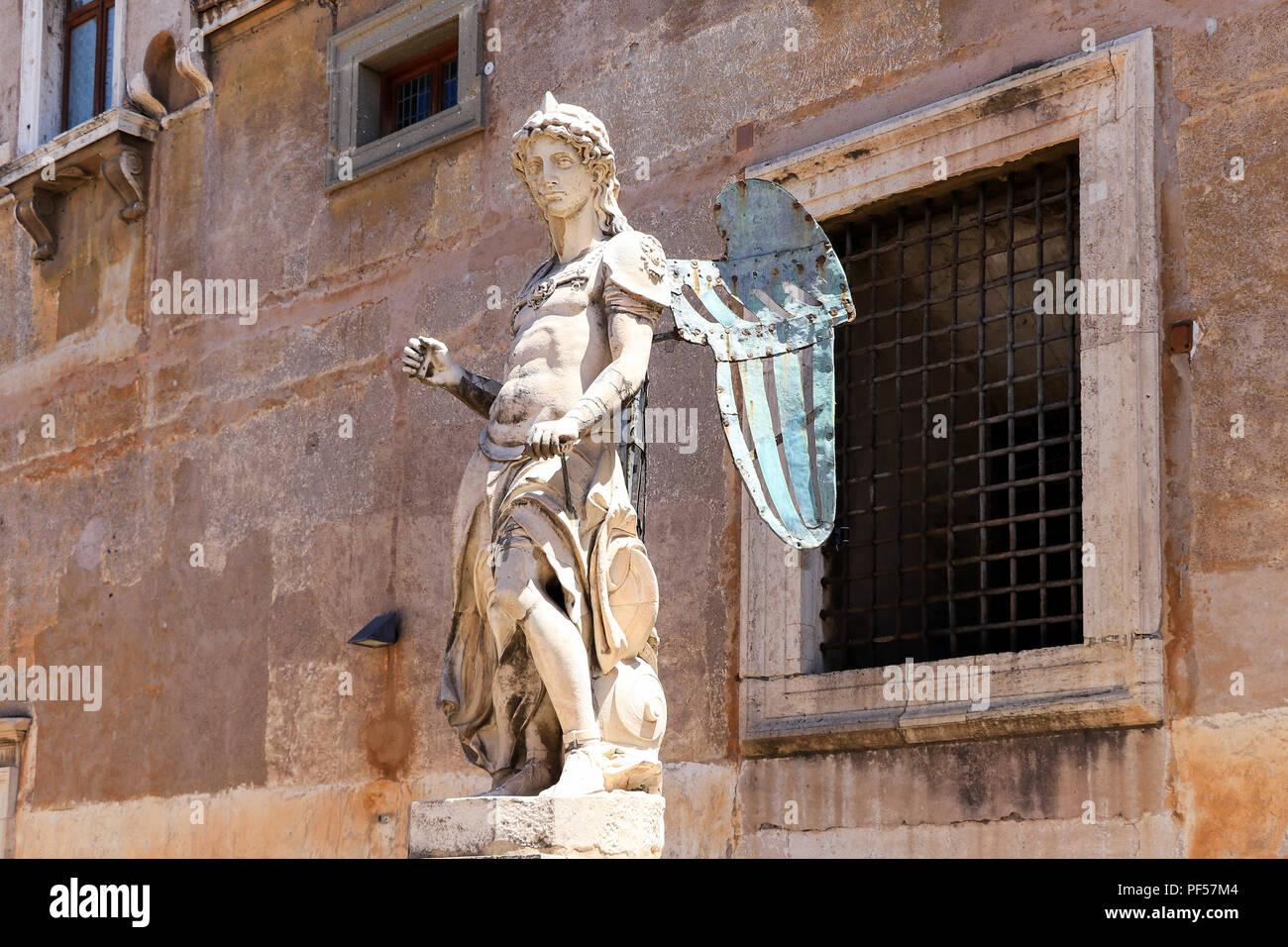 Saint Michael archangel sculpture at the ancient Castel Sant'Angelo, Rome, Italy - Stock Image