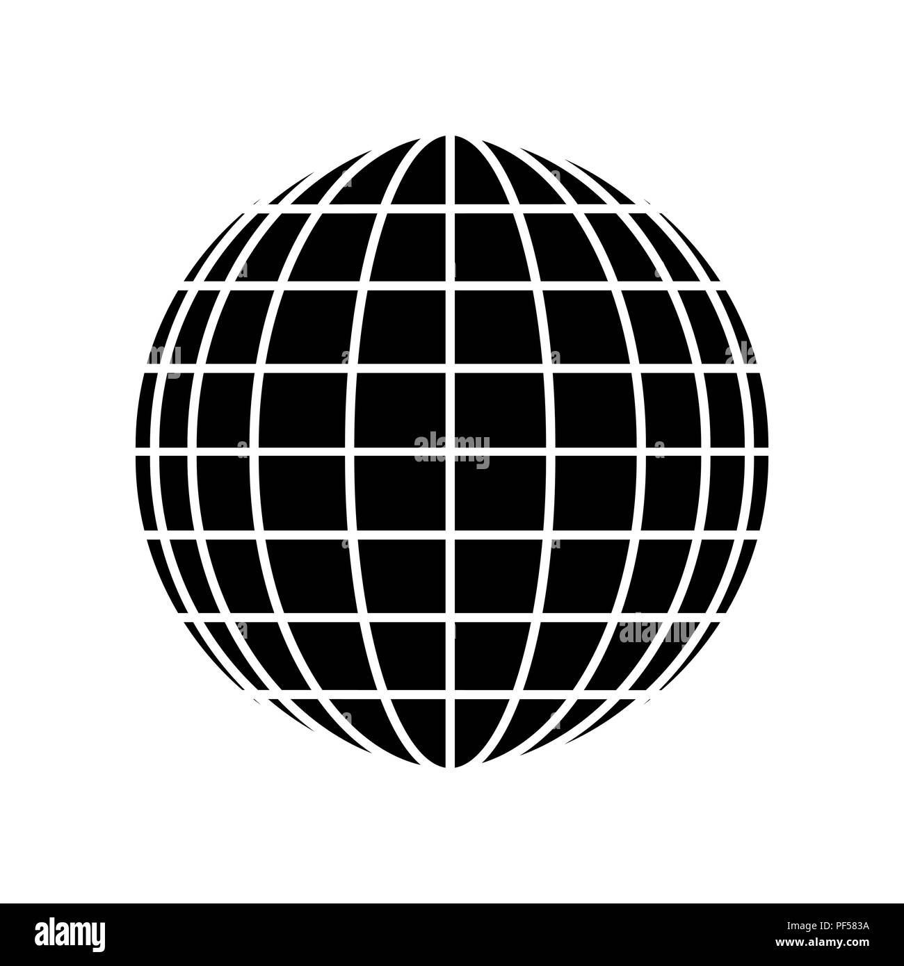 Earth Globe sign. Vector. Filled black icon at white background ...