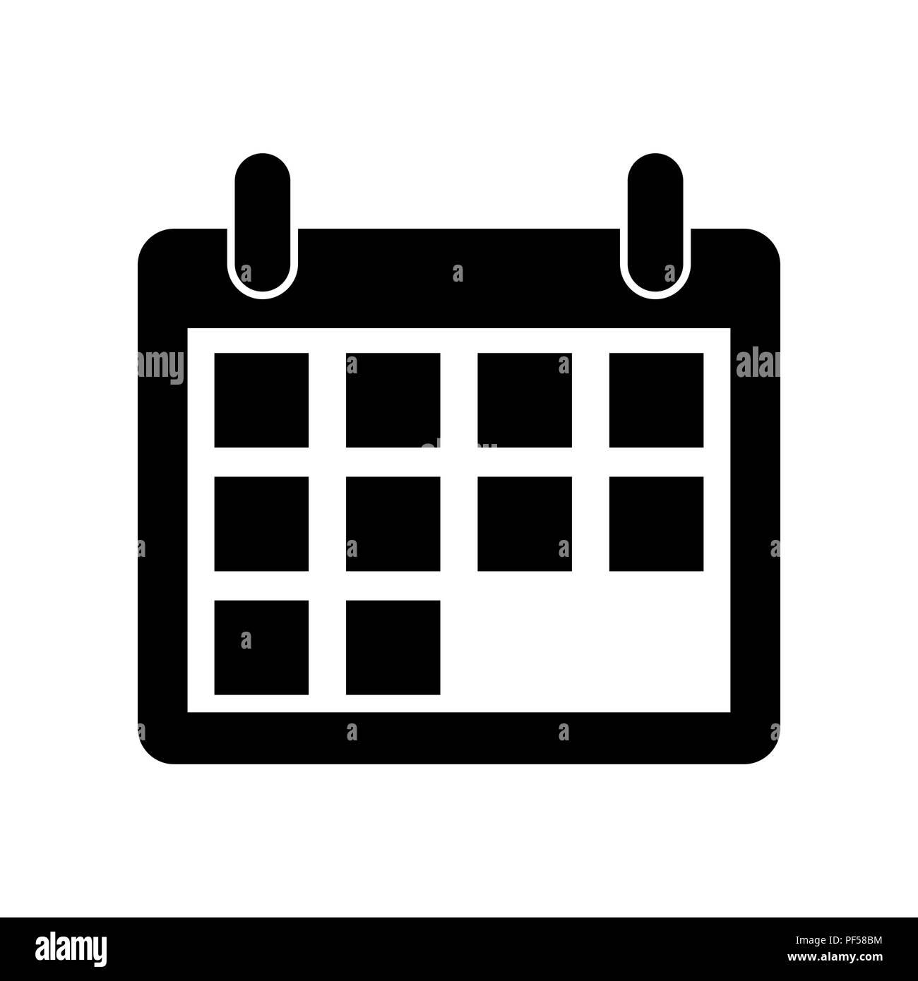 Calendario Vector Blanco.Calendar Sign Illustration Vector Filled Black Icon At