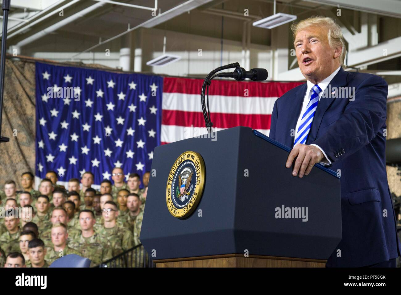 President Donald J  Trump speaks during an event at Fort