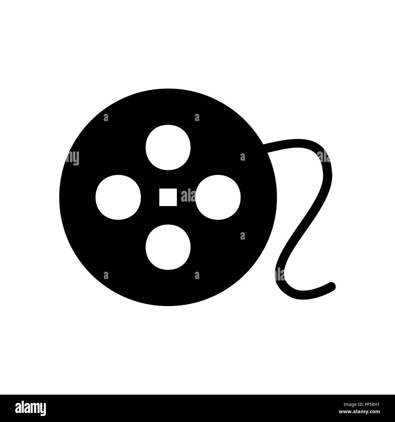 Film circular sign. Vector. Filled black icon at white background. Isolated. Stock Vector