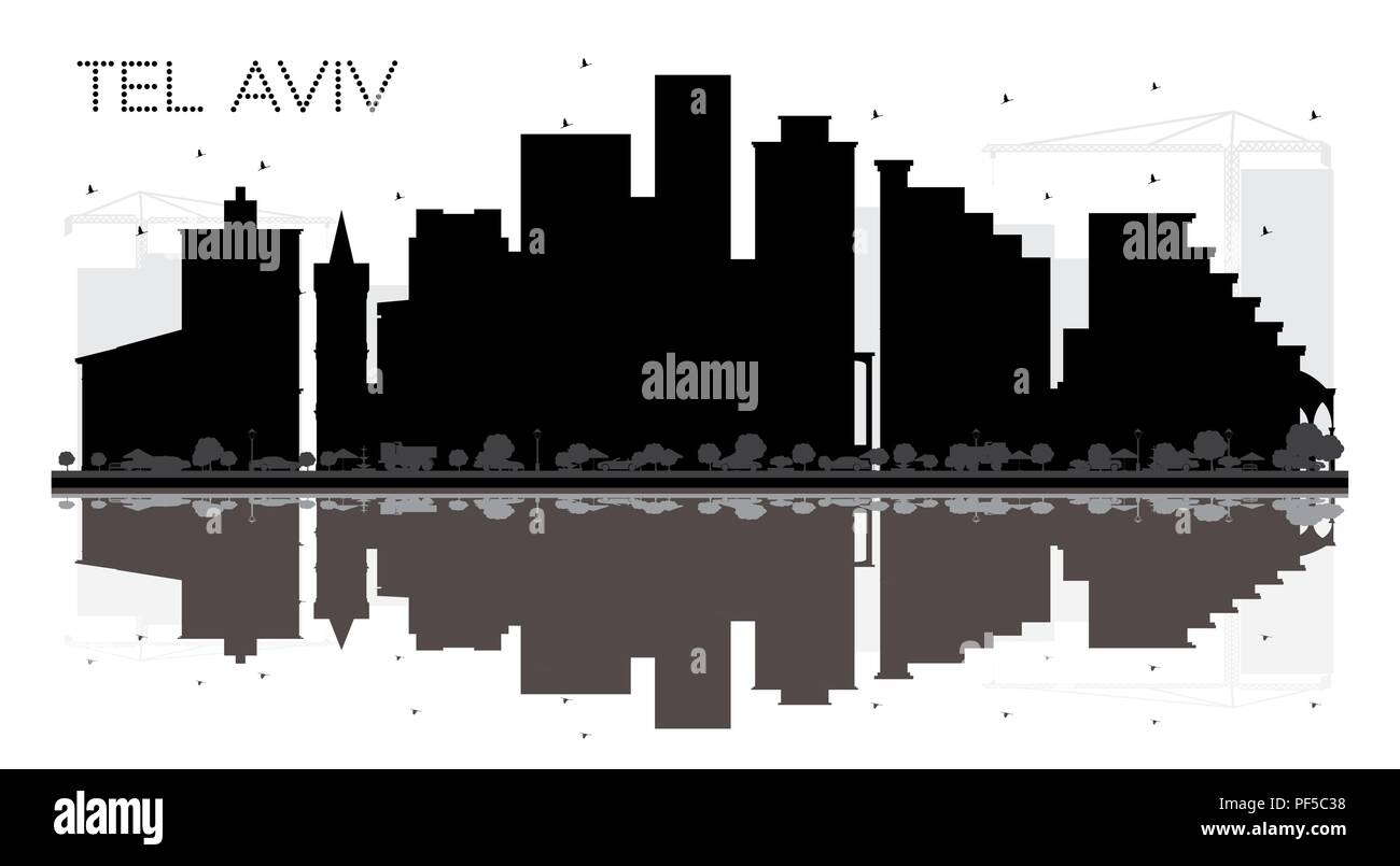 Tel Aviv Israel City skyline black and white silhouette with Reflections. Vector illustration. - Stock Image