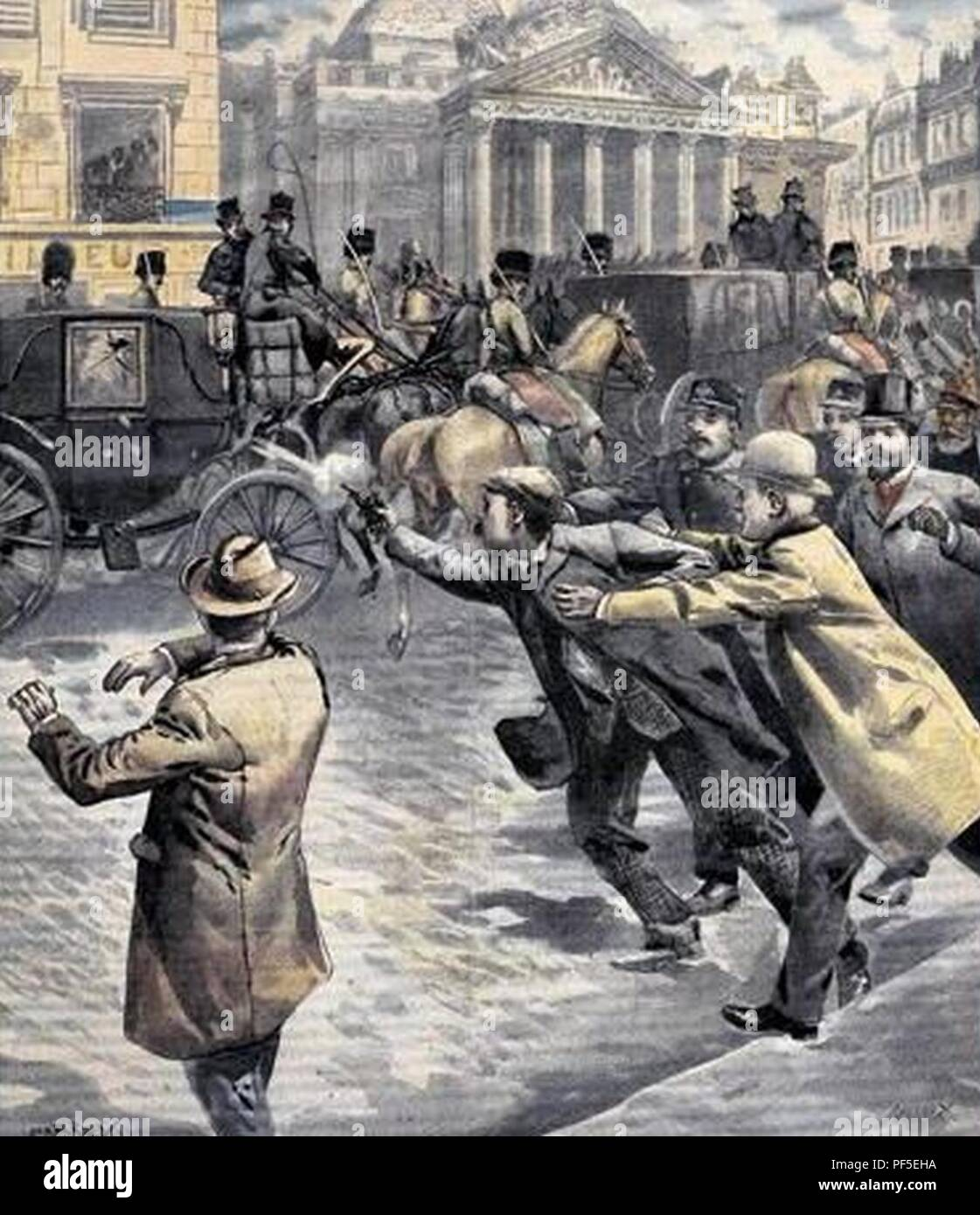 Assassination attempt on king Leopold II of Belgium in Bruxelles 1902. Stock Photo