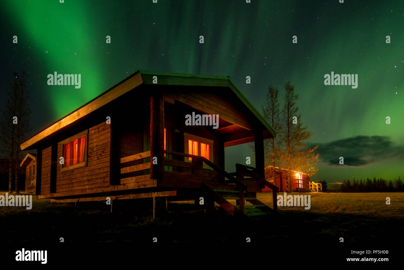A night under the Northern Lights - Stock Image