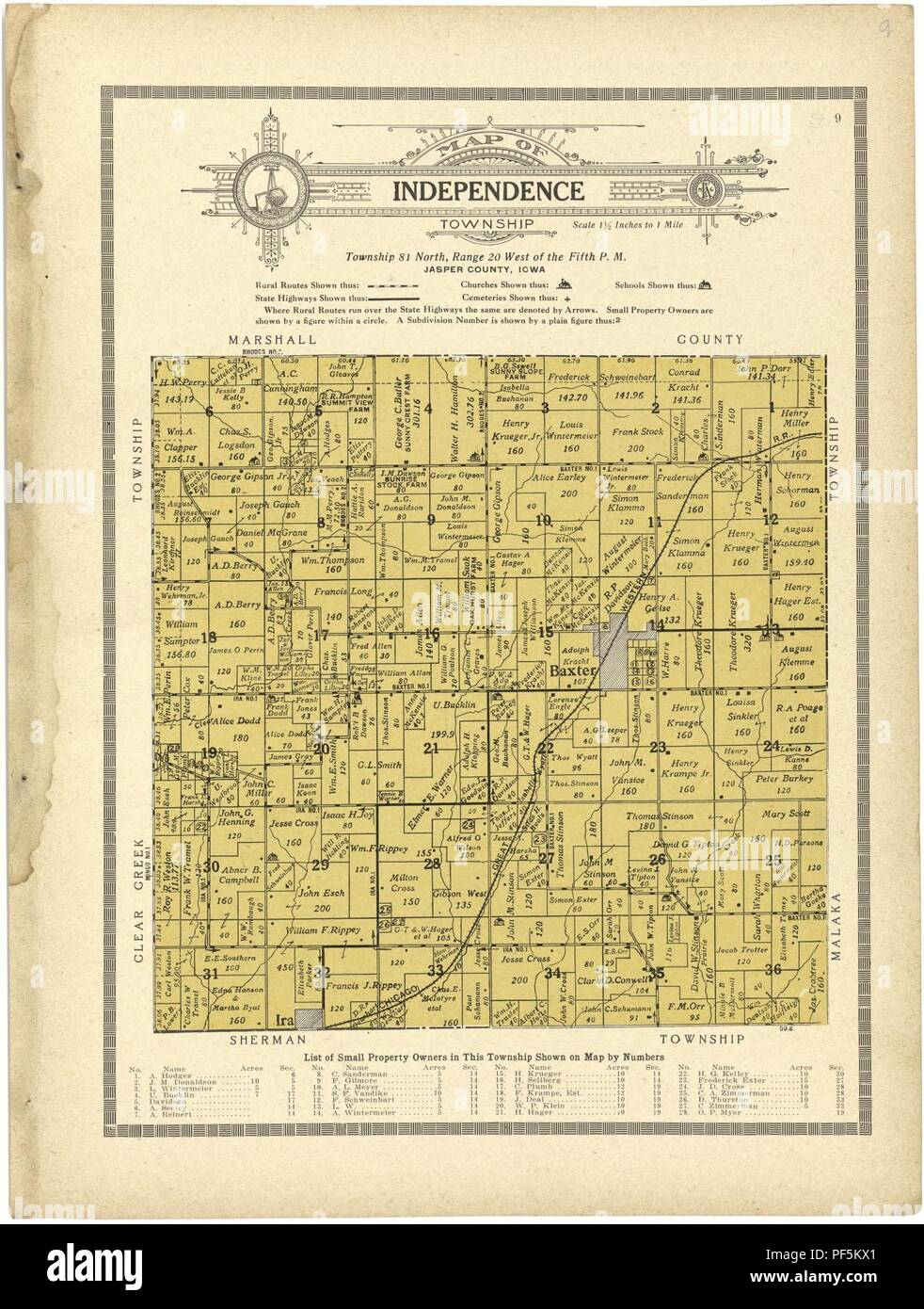 Atlas And Plat Book Of Jasper County Iowa Containing Outline Map