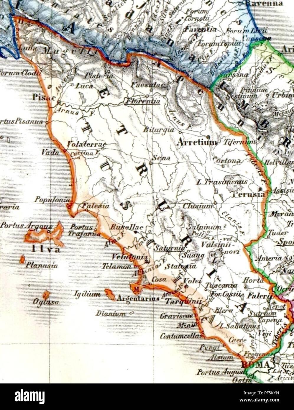 Atlas Antiquus - Etruria. - Stock Image