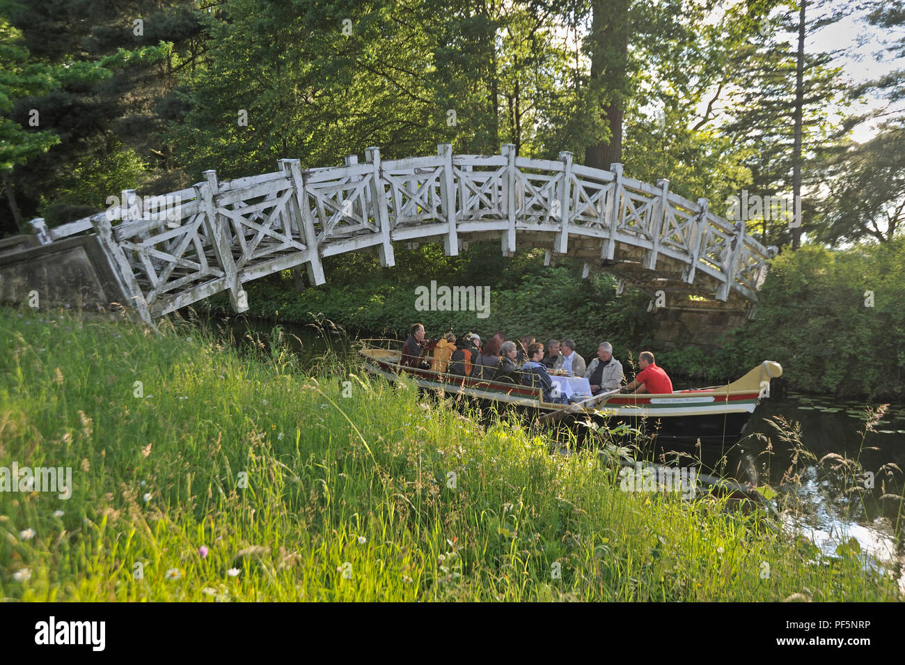 Dessau-Wörlitz Garden Realm, historic parks, White Bridge over the Wolfscanal with gondola, Wörlitz, district Wittenberg, Saxony-Anhalt, Germany, Euro - Stock Image