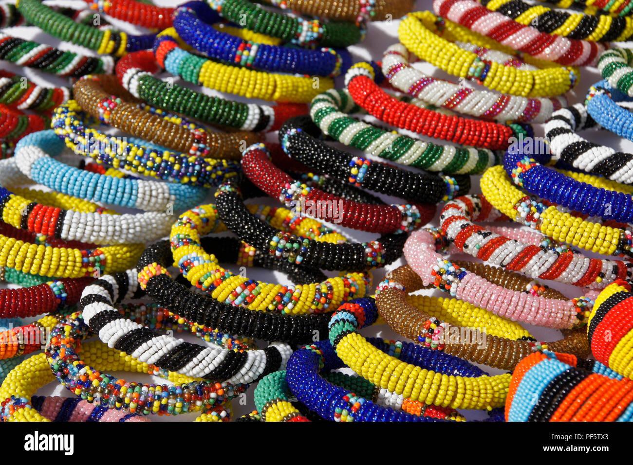 Samburu beaded bracelets for sale at Samburu/Buffalo Springs Game Reserve airstrip, Kenya - Stock Image