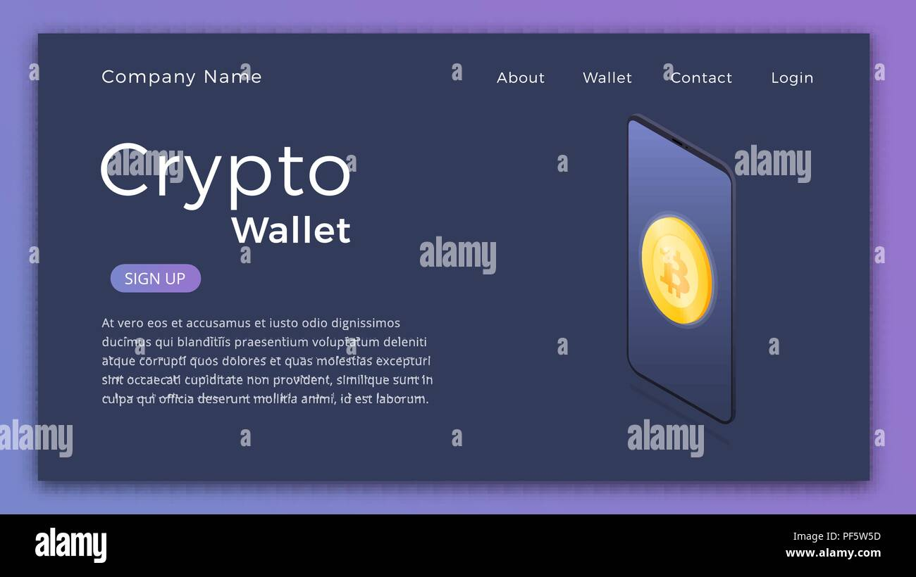 Cryptocurrency Wallet Isometric Illustration Of Mobile Storage App Concept Landing Page Design Layout