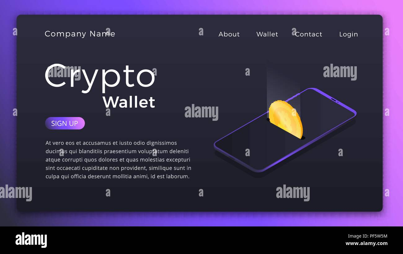 Cryptocurrency Wallet Isometric Illustration Of Mobile Storage App Concept Online Landing Page Design