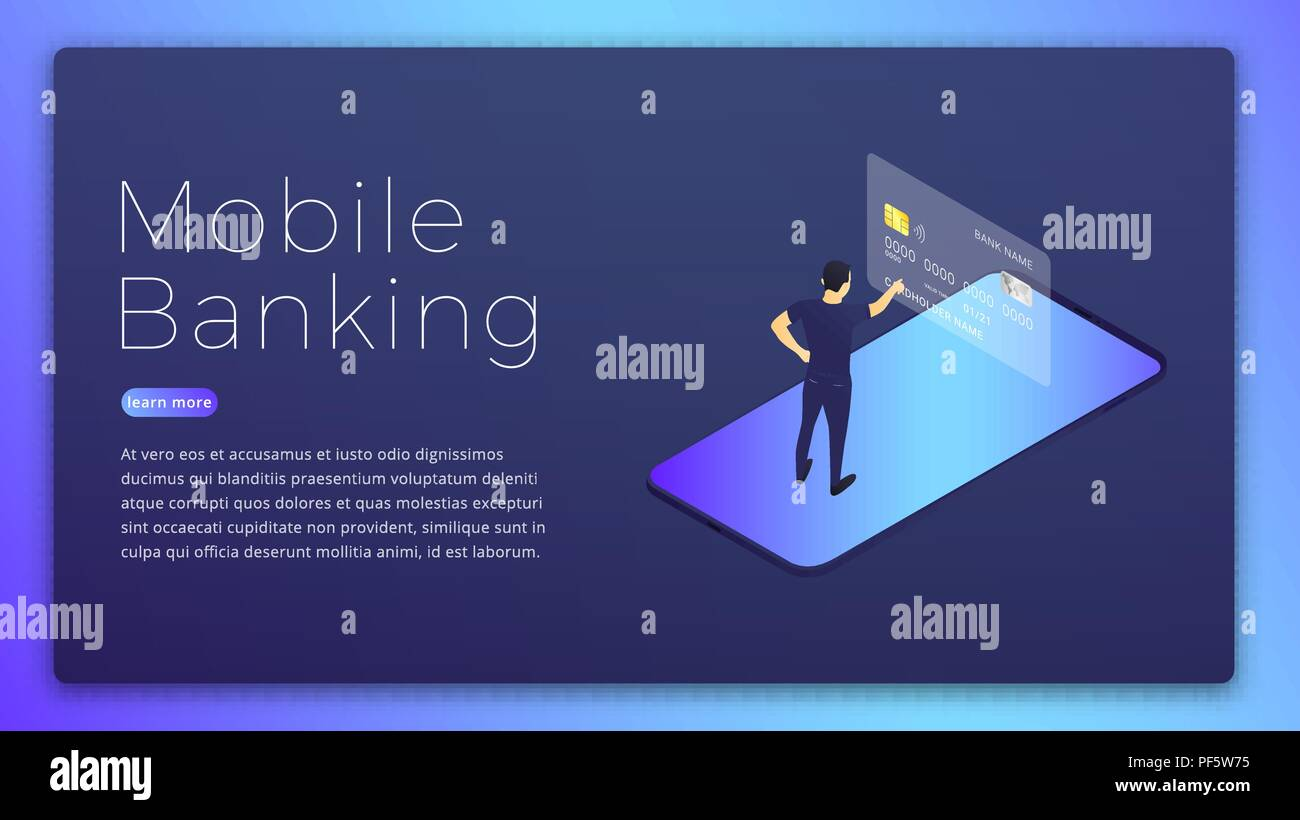 Mobile banking  Mobile bank app isometric concept  Online